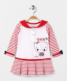 Doreme Full Sleeves Striped Frock - Red White