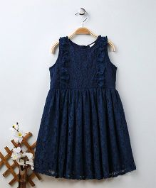 Babyhug Sleeveless Lace Frock - Dark Blue