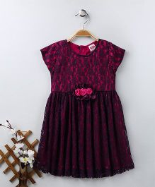 Babyhug Party Wear Short Sleeves Frock Floral Appliques - Purple Pink