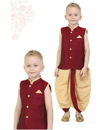 Ethnik's Neu Ron Sleeveless Kurta And Dhoti Set - Maroon Beige