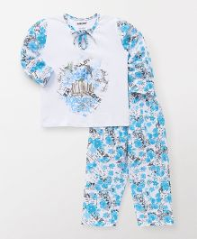 Cucumber Full Sleeves Night Suit Floral Print - White Blue