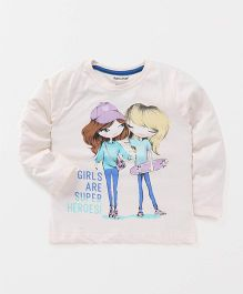 Cucumber Full Sleeves Top Girls Print - Off White