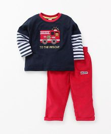 ToffyHouse Full Sleeves T-Shirt And Pant Set Fire Truck Patch - Blue Red
