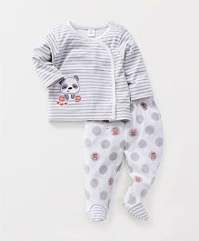 ToffyHouse Full Sleeves Night Suit Panda Patch - Grey White