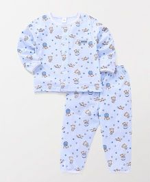 ToffyHouse Full Sleeves Night Suit Bear Print - Light Blue
