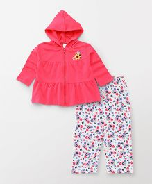 ToffyHouse Full Sleeves Hooded Jacket And Lounge Pants Set - Pink