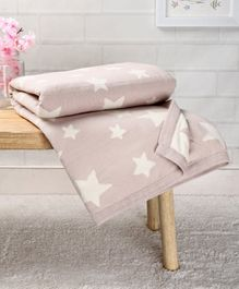 Babyhug Premium Knitted Cotton Blanket Star Print - Beige White