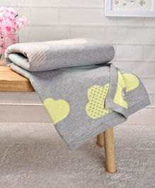 Babyhug Premium Knitted Cotton Blanket Cloud Print - Grey Multicolour