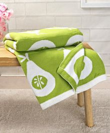 Babyhug Premium Pear Print Knitted Cotton Blanket - Green & White