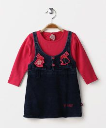 Wow Girl Full Sleeves Denim Frock Bunny Patch - Dark Pink & Blue
