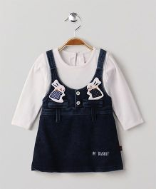 Wow Girl Full Sleeves Denim Frock Bunny Patch - White & Dark Blue
