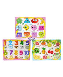Emob Numbers, Fruits & Geometrical Shape Puzzle Pack Of 3 - Multi Color