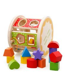 Emob Wooden Shape Sorter Toy - Multi Color