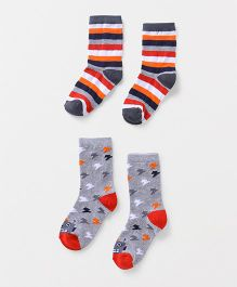 Cute Walk by Babyhug Anti Bacterial Socks Pair of 2 - Grey Black