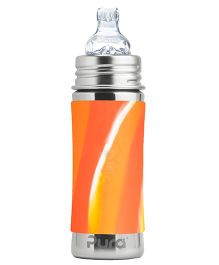 Pura Kiki Infant Bottle With Silicone Sleeve And Sippy Cup Orange - 325 ml