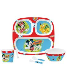Servewell Kids Feeding Set Mickey Mouse Print Red - Pack Of 5