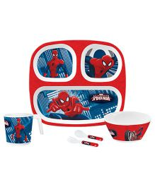 Servewell Kids Feeding Set Spider Man Print Red - Pack Of 5