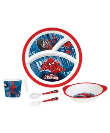 Servewell Feeding Set Spider Man Print Red Blue - Pack Of 5