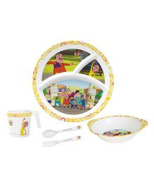 Servewell Feeding Set Motu Patlu Print Yellow - Pack Of 5