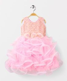 Adores Ruffle Flower Applique Sleevless Party Wear Dress - Baby Pink