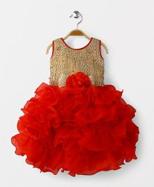 Adores Ruffle Big Flower Applique Sleevless Party Wear Dress - Red