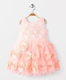 Adores Rossette Sleevless Party Wear Dress - Peach