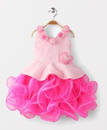 Adores Shimmer & Floral Applique Party Wear Dress - Pink