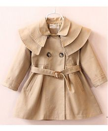 Pre Order - Lil Mantra Stylish Collared Overcoat With Buckle Waistband - Khaki