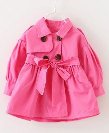 Pre Order - Lil Mantra Puff Sleeved Overcoat Style Jacket - Hot Pink