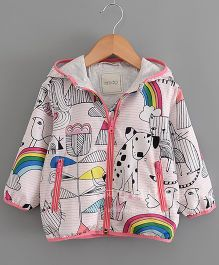 Pre Order - Lil Mantra Rainbow & Animal Print Hoodie Jacket- White & Pink