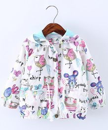 Pre Order - Lil Mantra Mice & Bird Print Hoodie Jacket - White