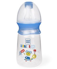 Mee Mee Premium Baby Feeding Plastic Bottle Monkey Print Blue White - 130 ml