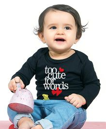 Bonorganik Too Cute For Words Babysuit - Black