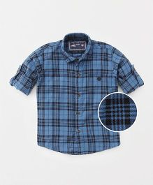 Jash Kids Full Sleeves Checks Shirt - Navy Blue