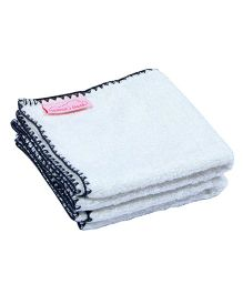 Mumma's Touch Organic Bamboo Baby Wash Towel Set of 2 (SMALL) - Off White with Grey border