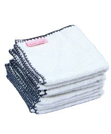 Mumma's Touch Organic Bamboo Baby Wash Towel Set of 4 (SMALL) - Off White with Grey  border