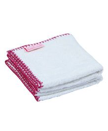 Mumma's Touch Organic Bamboo Baby Wash Towel Set Of 2 (SMALL) - Off White with Purple border