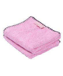 Mumma's Touch Organic Bamboo Baby Wash Towel Set of 2 Small - Pink with Grey border