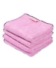 Mumma's Touch Organic Bamboo Baby Wash Towel Set of 4 (SMALL) - Pink with Grey border