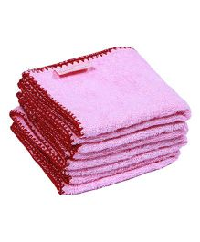 Mumma's Touch Organic Bamboo Baby Wash Towel Set of 4 Small - Pink With Red Border