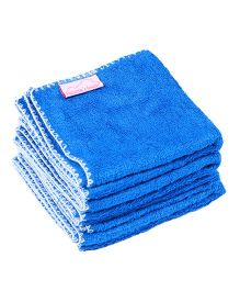 Mumma's Touch Organic Bamboo Baby Wash Towel Set of 4 Small - Royal Blue with White border