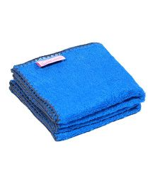 Mumma's Touch Organic Bamboo Baby Wash Towel Set of 2 Small - Royal Blue With Grey Border
