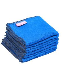 Mumma's Touch Organic Bamboo Baby Wash Towel Small Set of 4 - Royal Blue With Grey Border