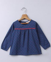 Beebay Full Sleeves Polka Dots Top - Navy Blue