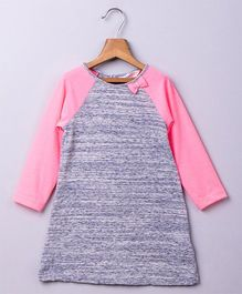 Beebay Long Sleeves Dress With Bow Applique - Grey Pink