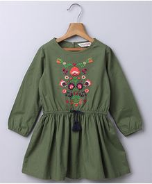 Beebay Full Sleeves Embroidered Dress - Dark Green