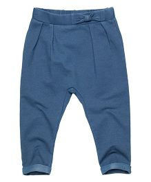 Fox Baby Full Length Pants Bow Applique - Blue