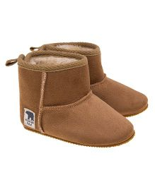 Fox Baby Slip On Boot Style Booties - Brown