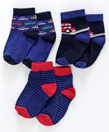 Cute Walk by Babyhug Anti Bacterial Socks Pack of 3 Pairs - Blue
