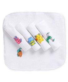 Tinycare Printed Face Napkins Set Of 5 - White